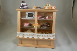 12th Scale Pine Cake Display Counter with Cakes