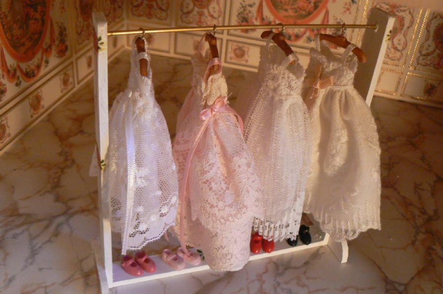 Handmade Miniature Dress Rail And Bridesmaid Dresses